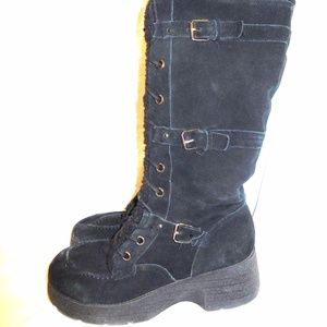 Report Real Suede Leather Tall Boots sz10 Faux Fur